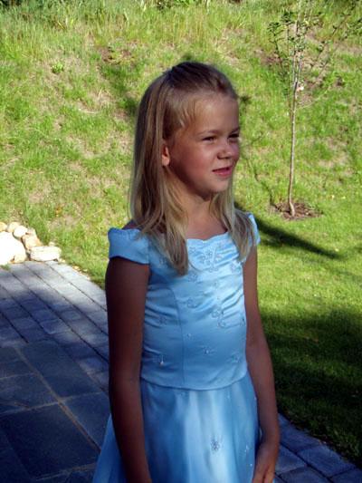 FEC70060 Ivory, rosa och blå Klänning från 2 till 12 år